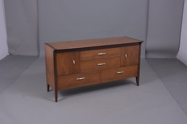 Vintage Mid Century Modern Walnut Lacquered Chest of Drawers For Sale 4