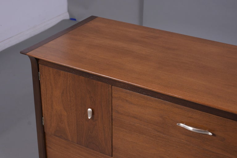 Vintage Mid Century Modern Walnut Lacquered Chest of Drawers For Sale 5