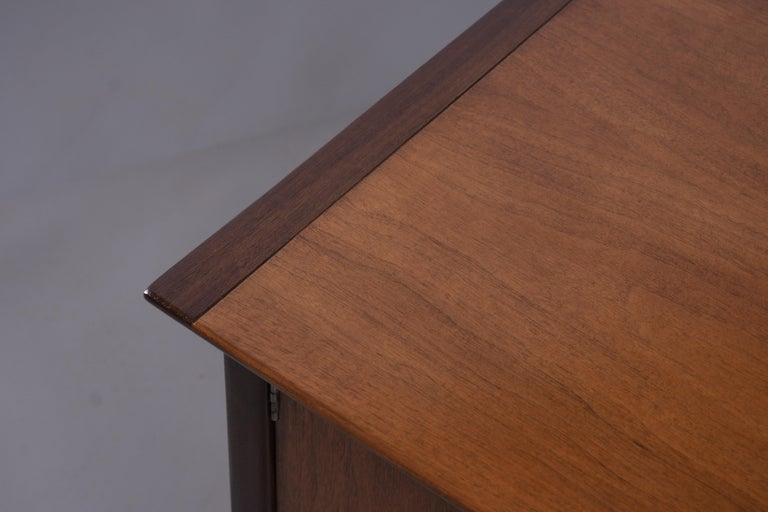 Vintage Mid Century Modern Walnut Lacquered Chest of Drawers For Sale 6