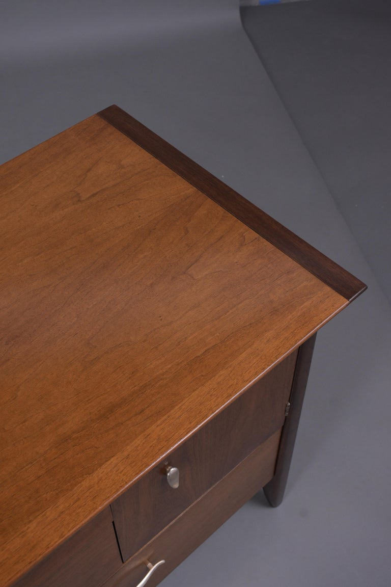 Vintage Mid Century Modern Walnut Lacquered Chest of Drawers For Sale 7