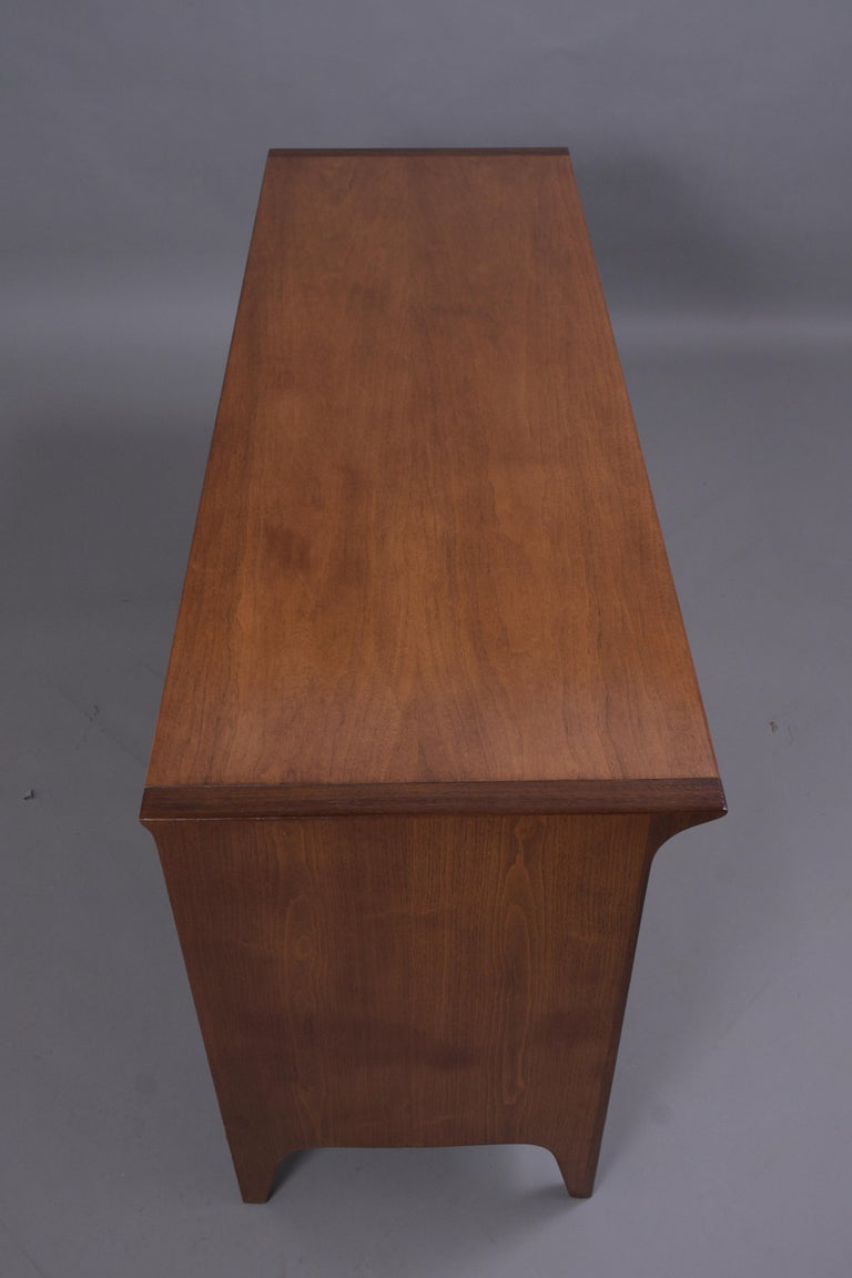 Vintage Mid Century Modern Walnut Lacquered Chest of Drawers For Sale 8