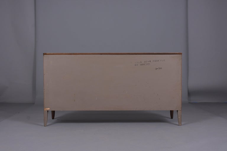 Vintage Mid Century Modern Walnut Lacquered Chest of Drawers For Sale 10