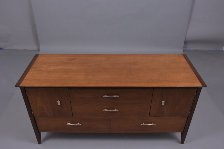 Carved Vintage Mid Century Modern Walnut Lacquered Chest of Drawers For Sale
