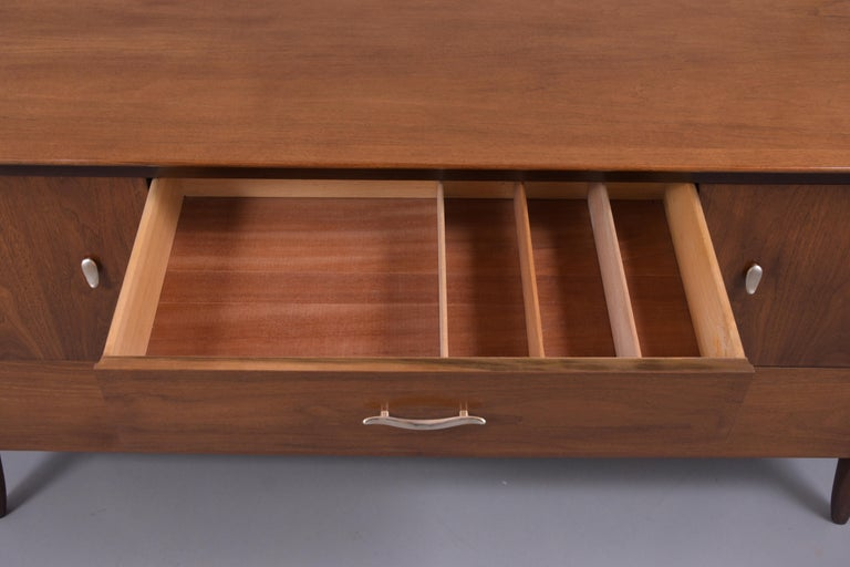 Paint Vintage Mid Century Modern Walnut Lacquered Chest of Drawers For Sale