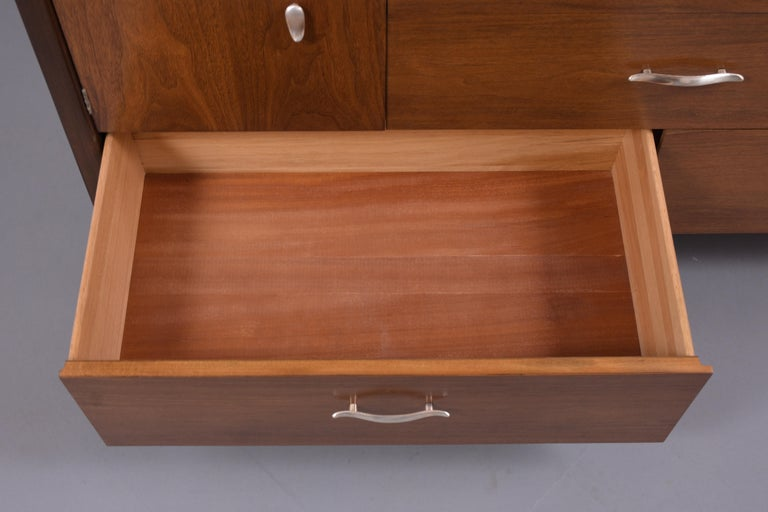 Vintage Mid Century Modern Walnut Lacquered Chest of Drawers For Sale 1