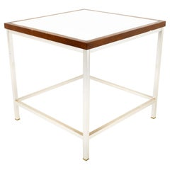 Mid Century Walnut Laminate and Chrome Side End Table