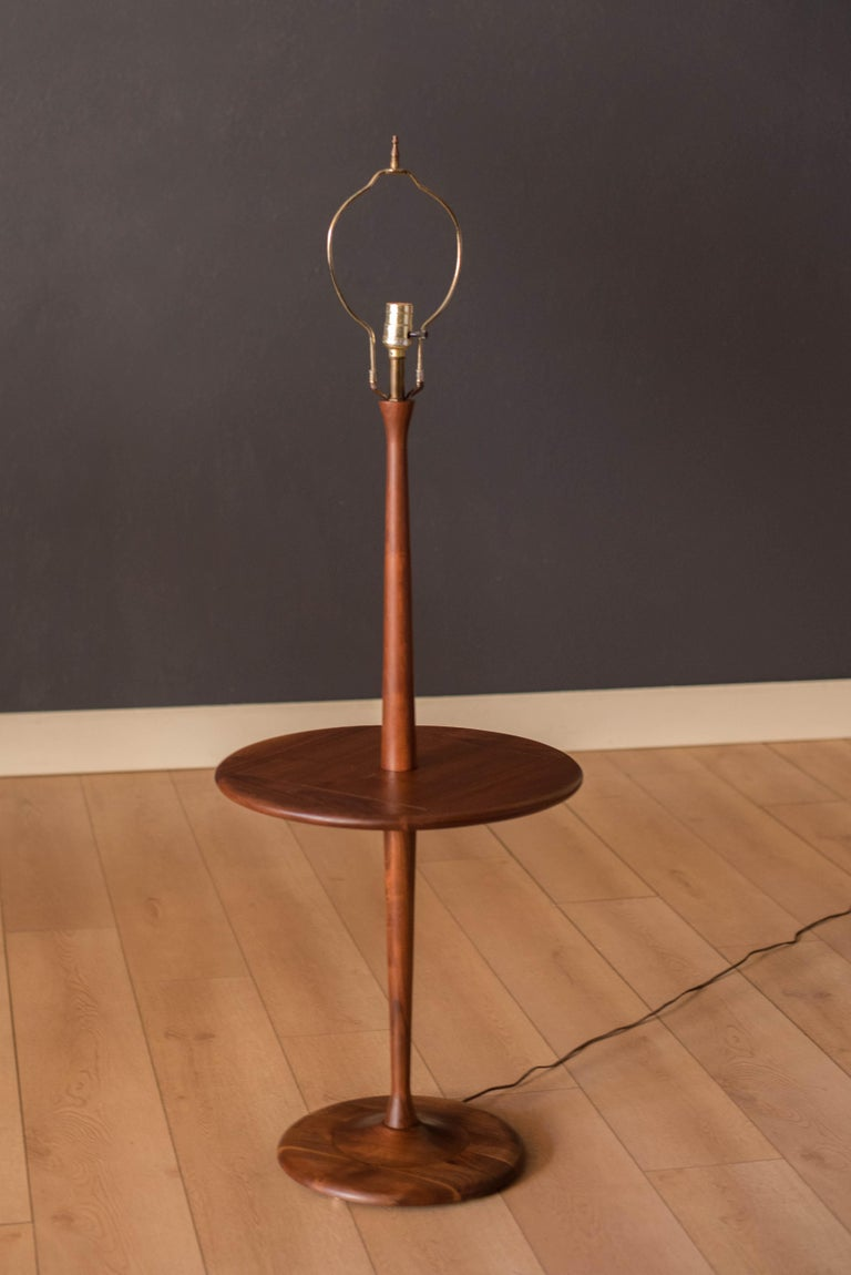Mid-Century Modern Mid Century Walnut Laurel Floor Lamp with End Table For Sale