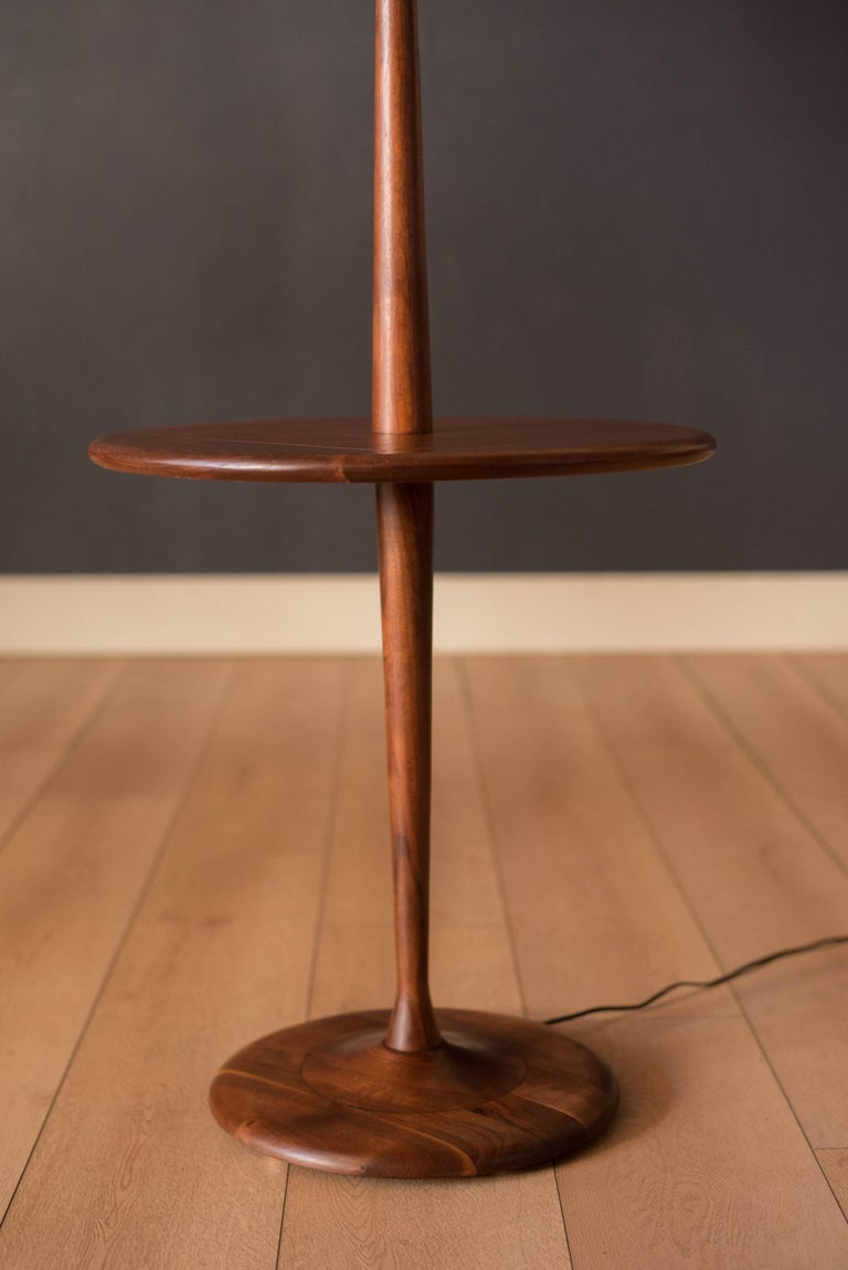 Mid-20th Century Mid Century Walnut Laurel Floor Lamp with End Table For Sale