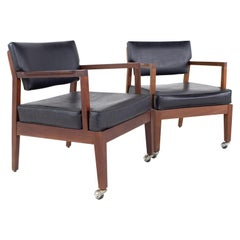 Mid Century Walnut Occasional Lounge Chairs, a Pair