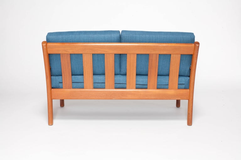 Mid-20th Century Midcentury Walnut Open Framed Settee Upholstered in Blue Linen For Sale