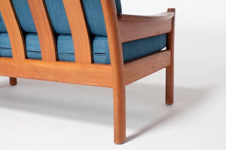 Midcentury Walnut Open Framed Settee Upholstered in Blue Linen For Sale 1