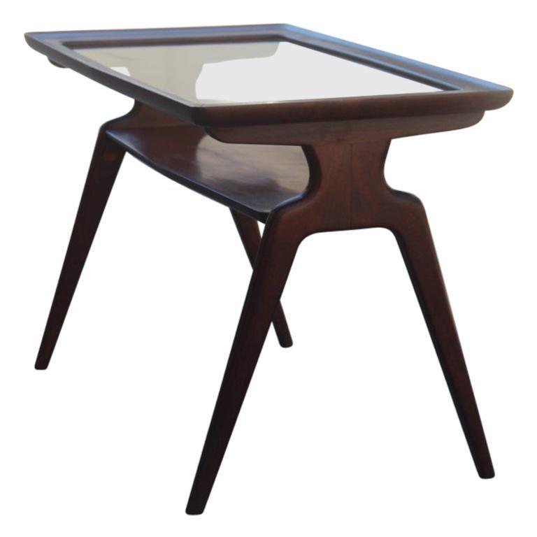 Midcentury Walnut Rectangular Table Coffe Italian Design 1950 Glass Top