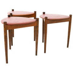 Mid Century Walnut Reversible Top Nesting Stool Side End Tables