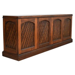 Midcentury Walnut Semi-Distressed Diamond Lattice Credenza Shallow Depth