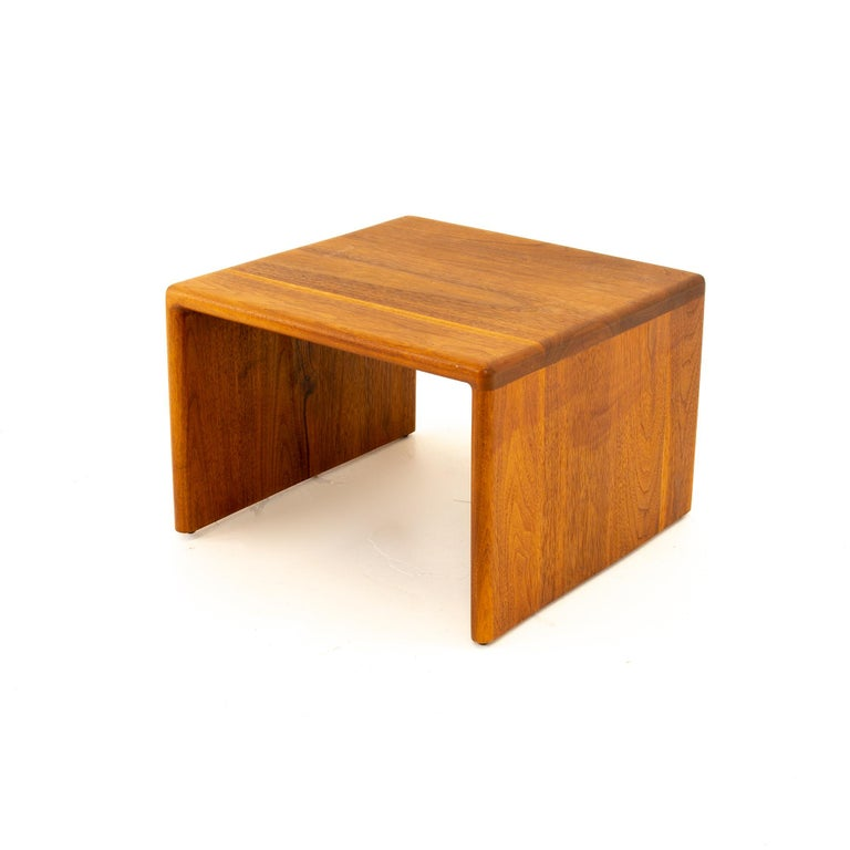 Mid century walnut side end table End table measures: 18 wide x 18 deep x 12 high  All pieces of furniture can be had in what we call restored vintage condition. That means the piece is restored upon purchase so it's free of watermarks, chips or