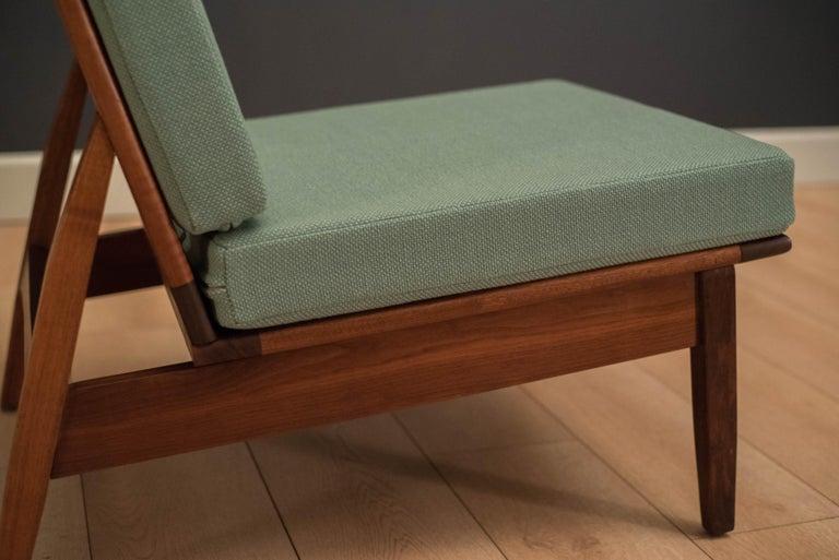Mid Century Walnut Slipper Lounge Chair For Sale 1