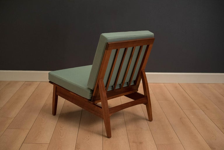 Mid Century Walnut Slipper Lounge Chair For Sale 2