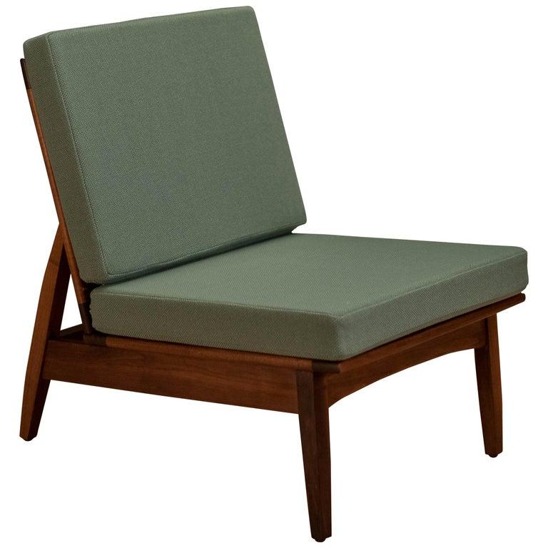 Mid Century Walnut Slipper Lounge Chair For Sale