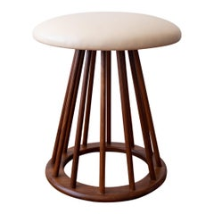 Mid Century Walnut Spindle Stool by Arthur Umanoff