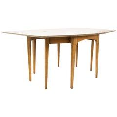 Mid Century Walnut Surfboard Drop Leaf Dining Table