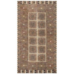 Midcentury Walnut and Taupe Marta Maas-Fjetterström 'Carnation Tapestry Weave'