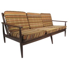 Mid Century Walnut Three-Seat Sofa