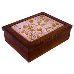 Midcentury Walnut Trinket Box with Ceramic Inlay