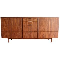 Mid Century Walnut Triple Dresser by John Stuart for Johnson Furniture Co
