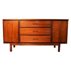 Mid Century Walnut Triple Dresser Sideboard