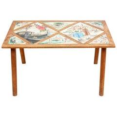 Midcentury Walnut Venetian Tile Coffee Table