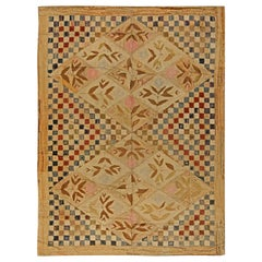 Midcentury Warm Beige, Red and Blue Handwoven Wool Hooked Rug