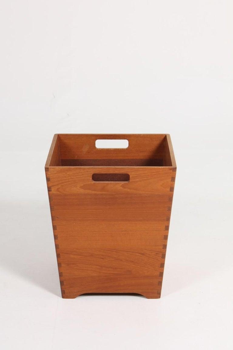 Danish Midcentury Waste Bin in Solid Teak, Made in Denmark For Sale