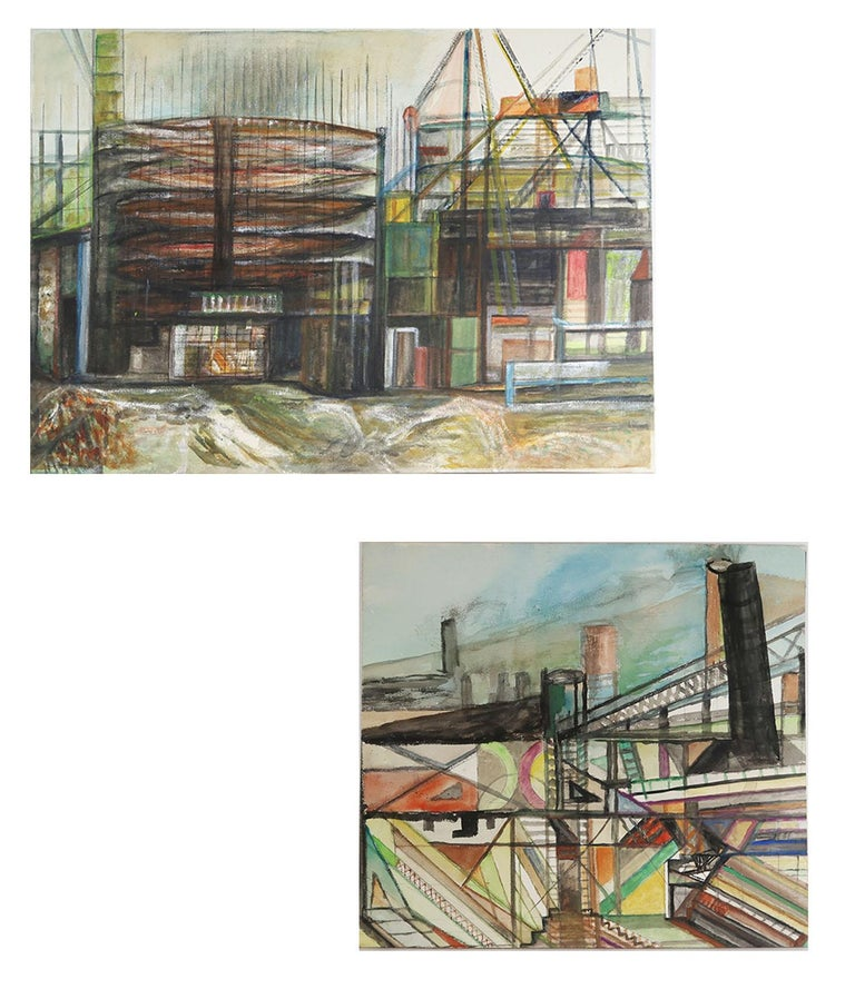 Mid-Century Modern Mid Century Watercolor Drawing, Industrial / Architectural Theme