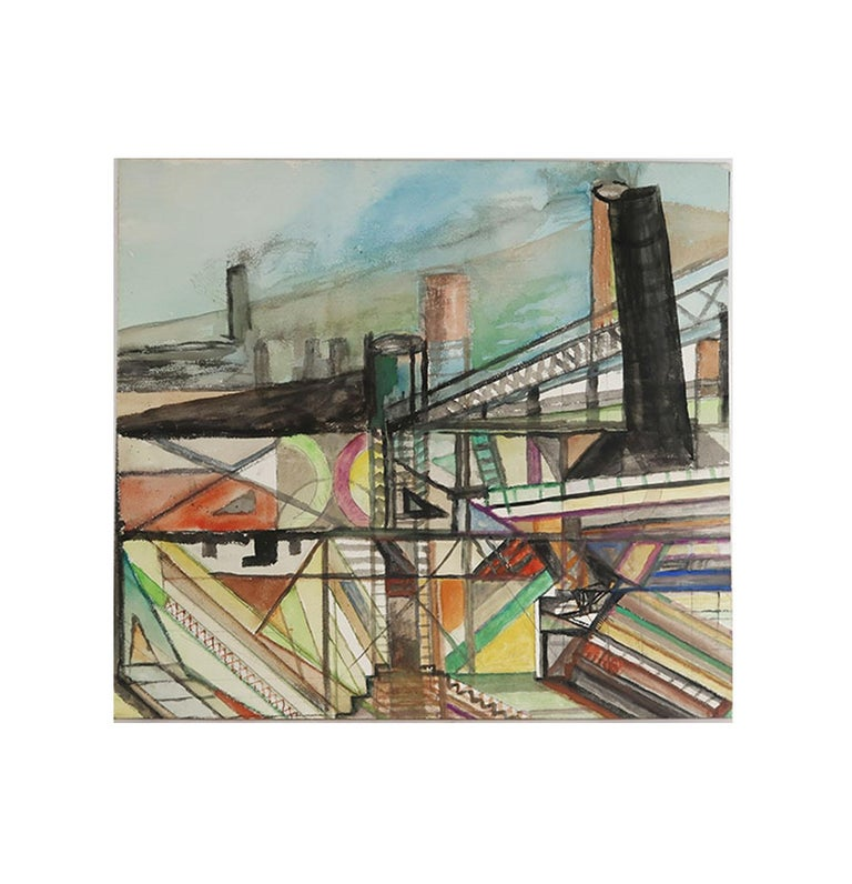 English Mid Century Watercolor Drawing, Industrial / Architectural Theme