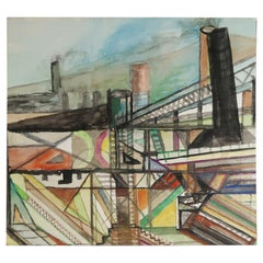 Mid Century Watercolor Drawing, Industrial / Architectural Theme