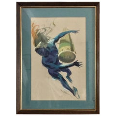 Mid-Century Watercolour Painting of an 'African Dancer with Drum' by Guy Huze