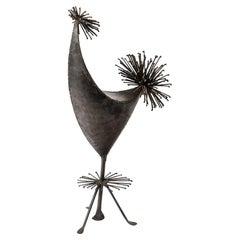 Mid-Century Welded Iron Bird Sculpture by Anasse Frecnh Artist, circa 1950