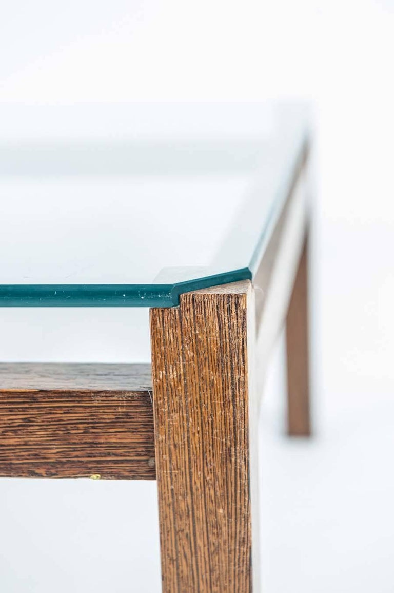 Dutch Midcentury Wenge Coffee Table with Glass Top by Kho Liang Ie for Artifort For Sale