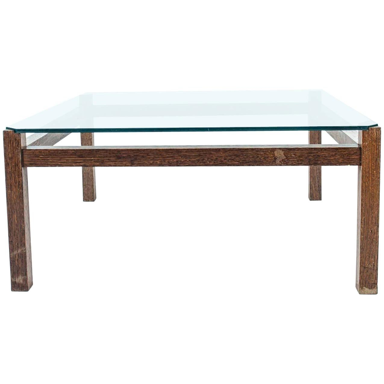 Midcentury Wenge Coffee Table with Glass Top by Kho Liang Ie for Artifort