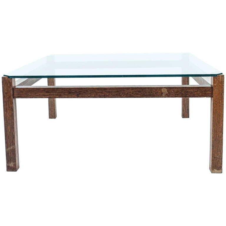 Midcentury Wenge Coffee Table with Glass Top by Kho Liang Ie for Artifort For Sale