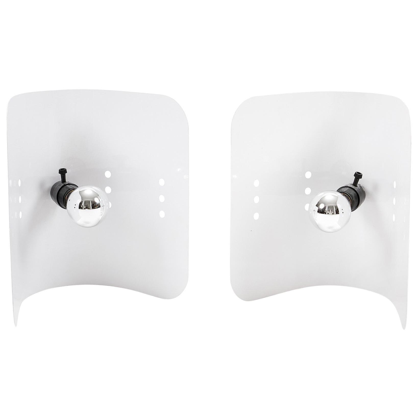 Midcentury White Enameled Metal Lamp Pair