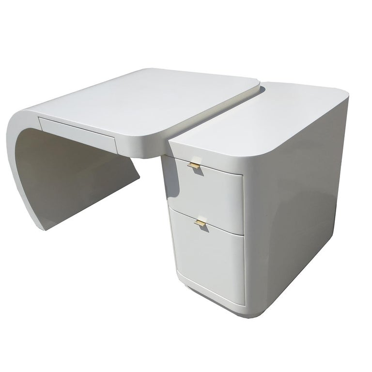 American Midcentury White Lacquered Desk For Sale