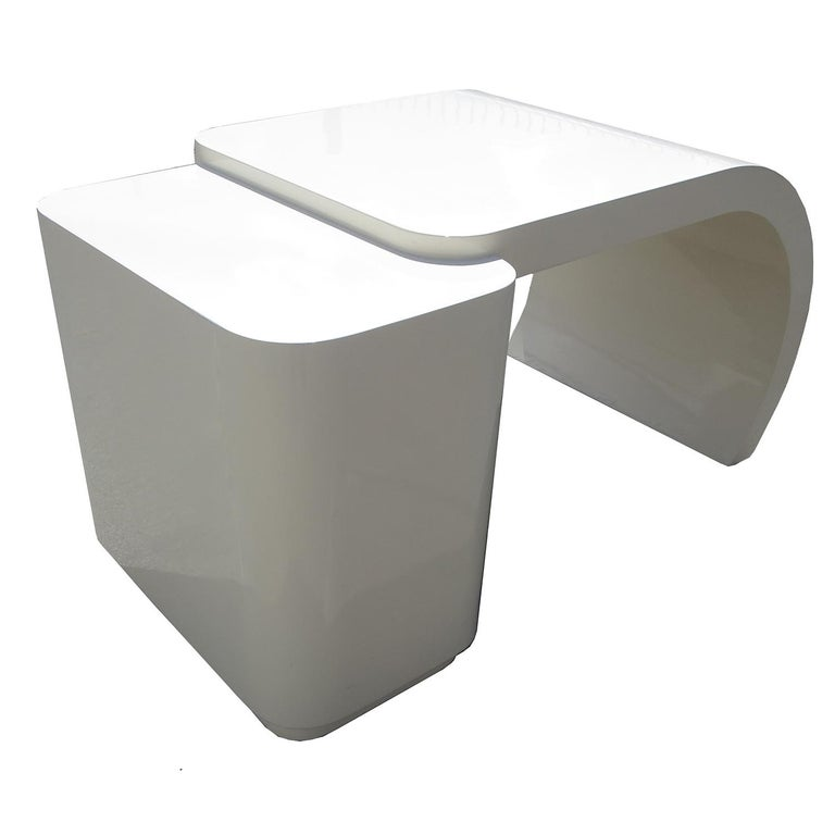Late 20th Century Midcentury White Lacquered Desk For Sale