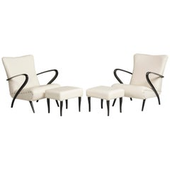 Midcentury White Leather Black Wood Armchairs with Pouffs
