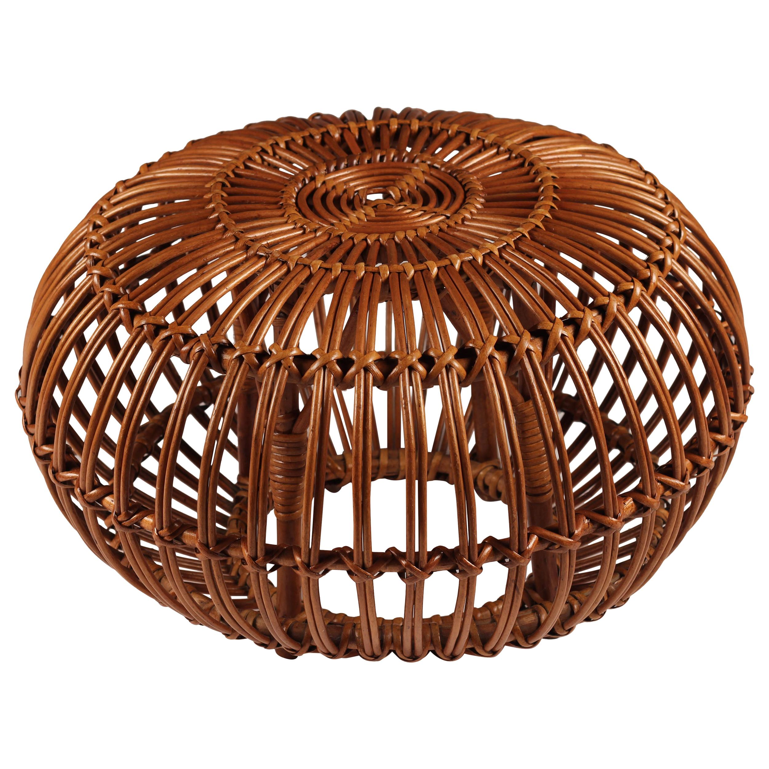 Mid Century Wicker and Cane Ottoman, Stool or Side Table