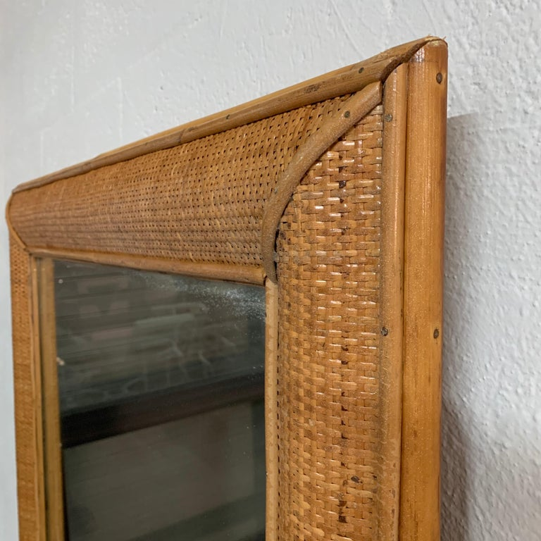 20th Century Midcentury Wicker Cane Rattan Bamboo Mirror by Walters Wicker Wonderland, 1970s For Sale