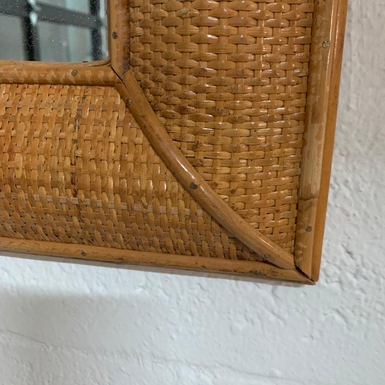 Midcentury Wicker Cane Rattan Bamboo Mirror by Walters Wicker Wonderland, 1970s For Sale 1