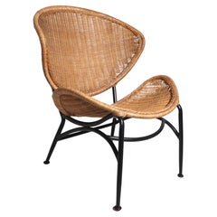Mid Century Wicker Lounge Chair After Umanoff