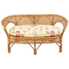 Midcentury Wicker Love Seat with Floral Upholstery