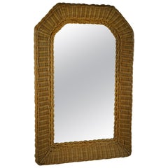 Midcentury Wicker Arch Top Mirror